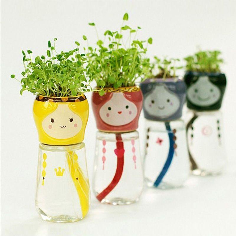 Home Office Decor Cute Emoji Doll Self Watering Flowerpots Planter W Straw Seed Flower Pots Ceramic Plant Pots Self Watering Planter