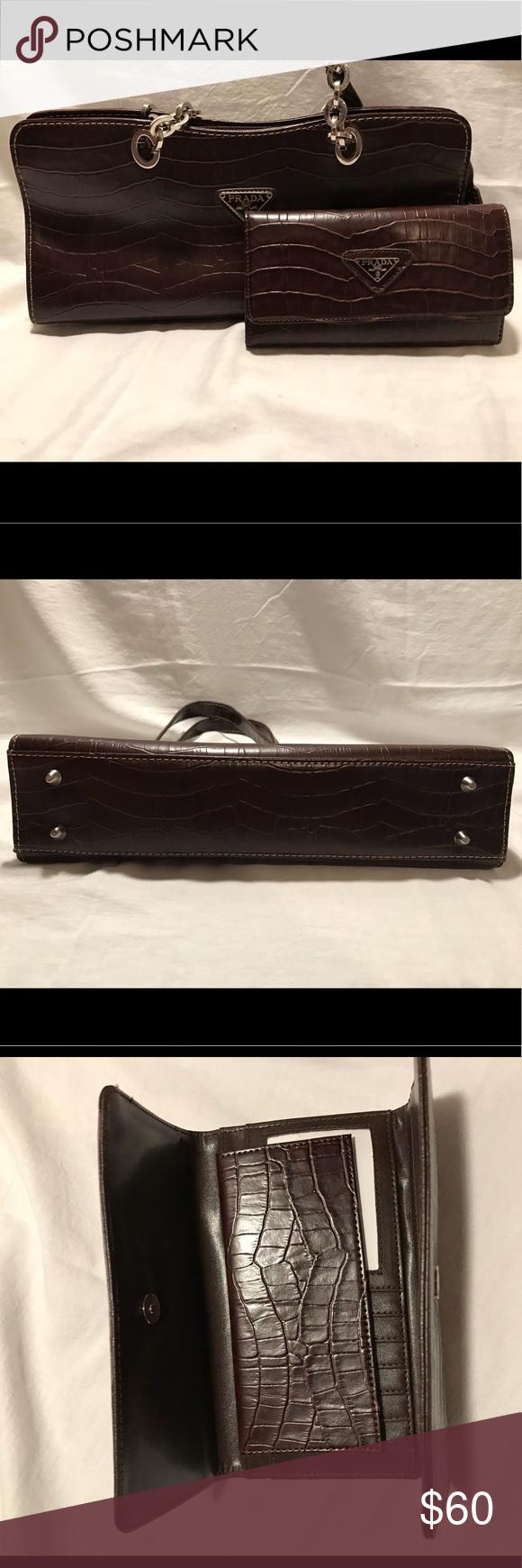 56ac7fa67602 ... free shipping prada alligator bag with clutch vintage prada alligator  purse with clutch. i can