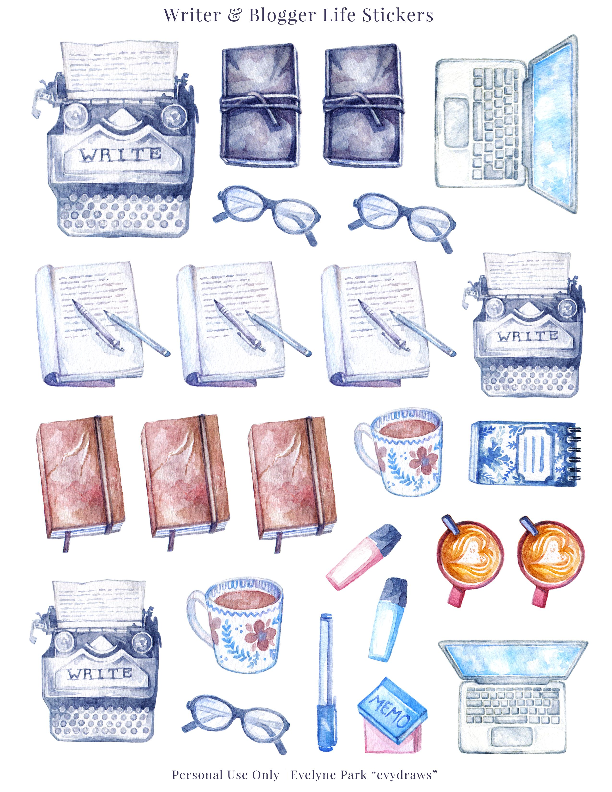 Blogging Writing Stickers Printable Typewriter Journals Coffee Planner Nanowrimo Printables Blog Post Vintage Watercolour Art Watercolor Stickers Bullet Journal Stickers Planner Stickers