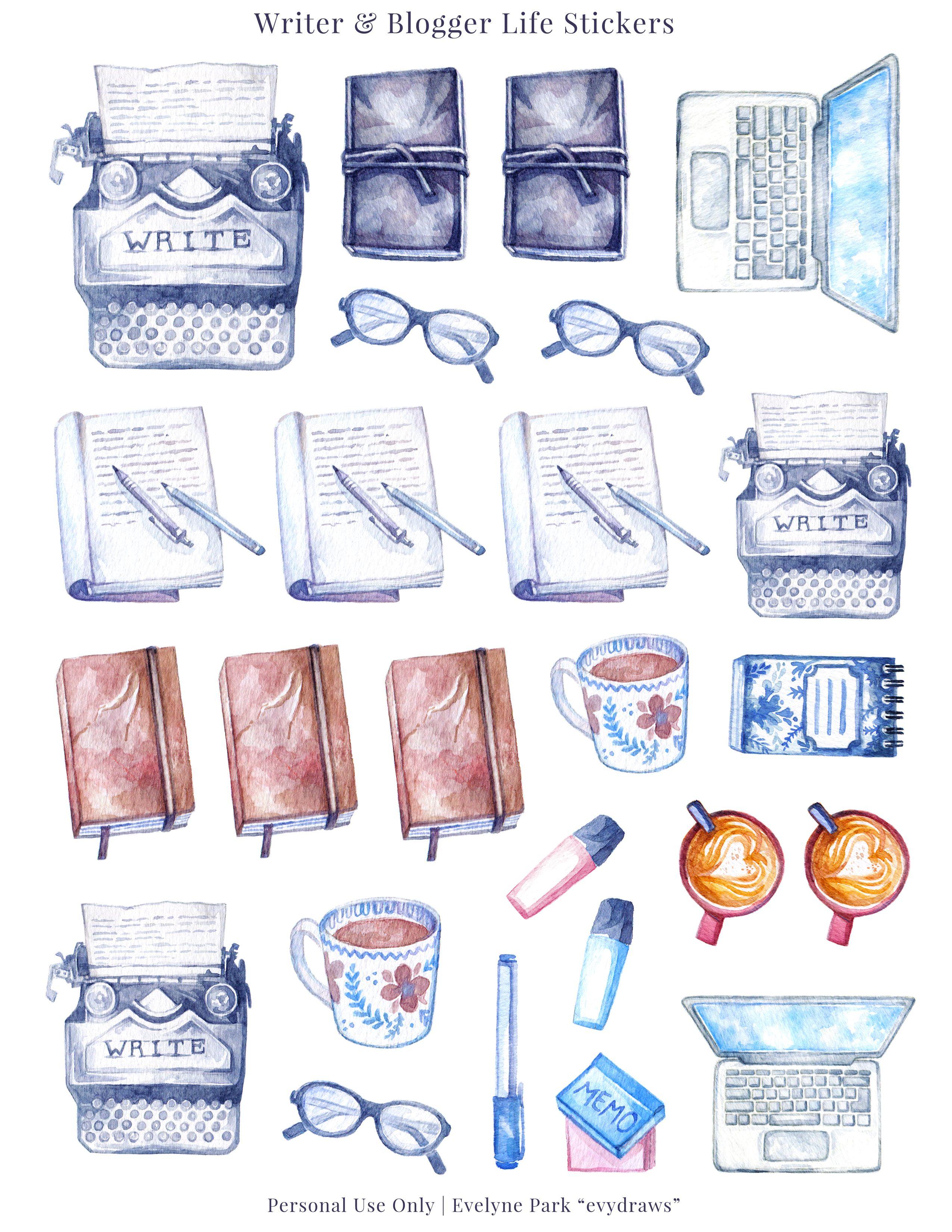 Blogging Writing Stickers Printable Typewriter Journals