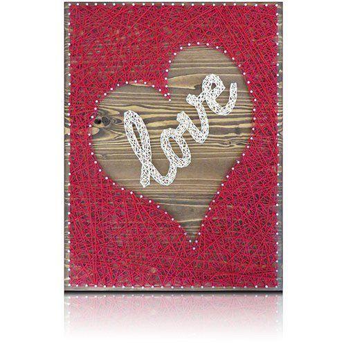 Inverted red heart love string art kit cuadros con hilos hilo y inverted red heart love string art kit solutioingenieria Images