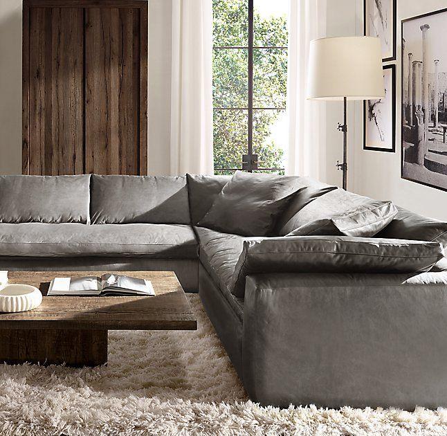 Rh Modern S Cloud Track Arm Leather Customizable Sectional The Ultimate Modern Sofa Living Room Living Room Design Inspiration Scandinavian Design Living Room