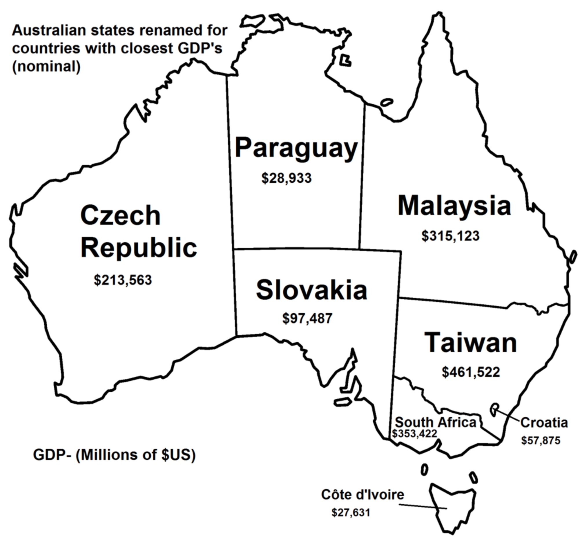 Australian States As Countries By GDP Country As And US States - Map of us gdp countries