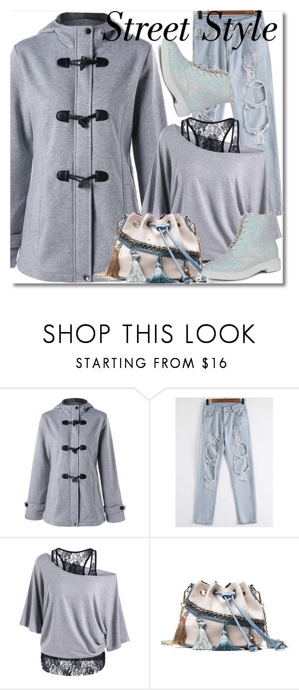 """Duffle Coat - Light Gray"" by ilona828 ❤ liked on Polyvore featuring StreetStyle, polyvoreeditorial and rosegal"