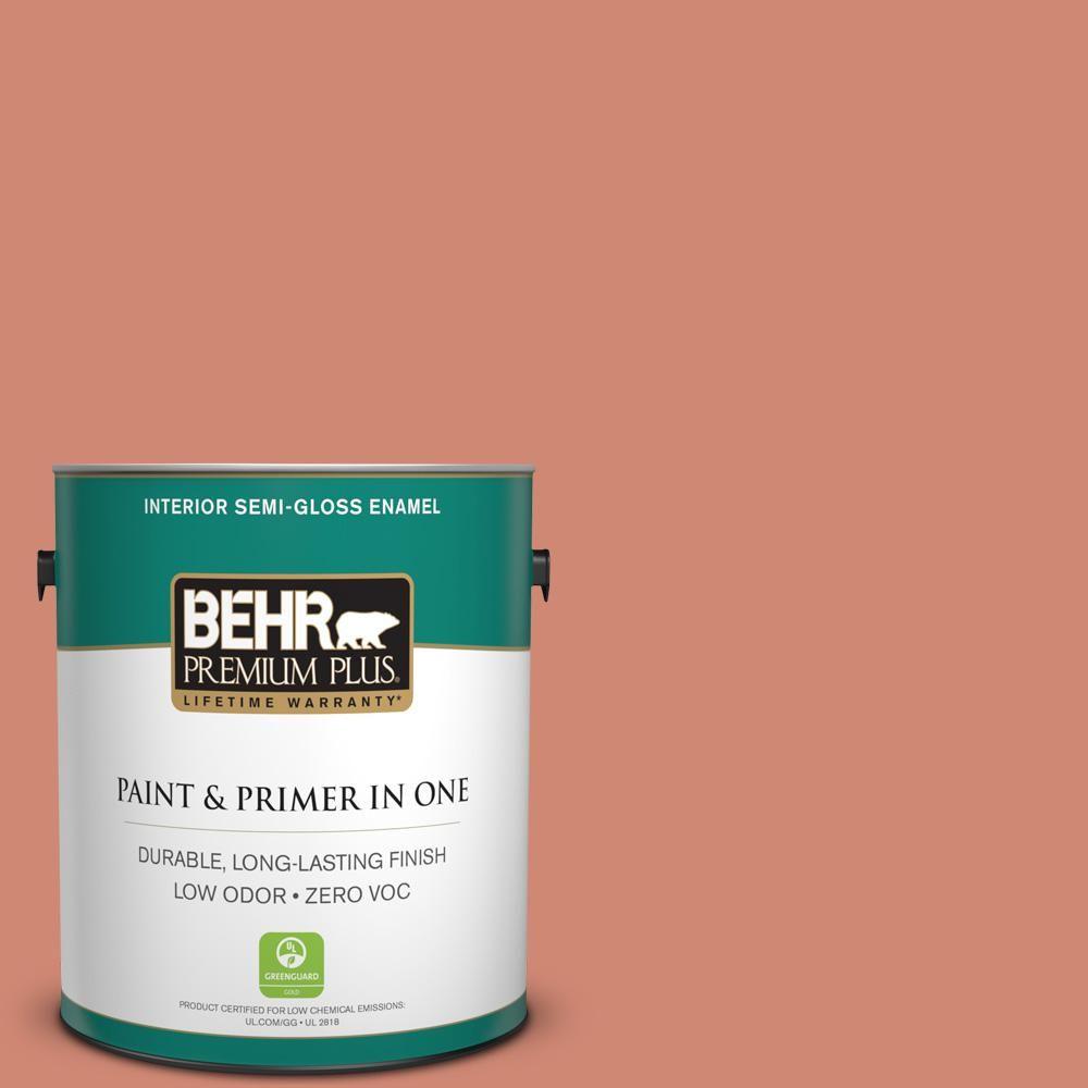 BEHR Premium Plus 1 gal. #hdc-WR16-02 Rosy Copper Zero VOC Interior Semi-Gloss Enamel Paint