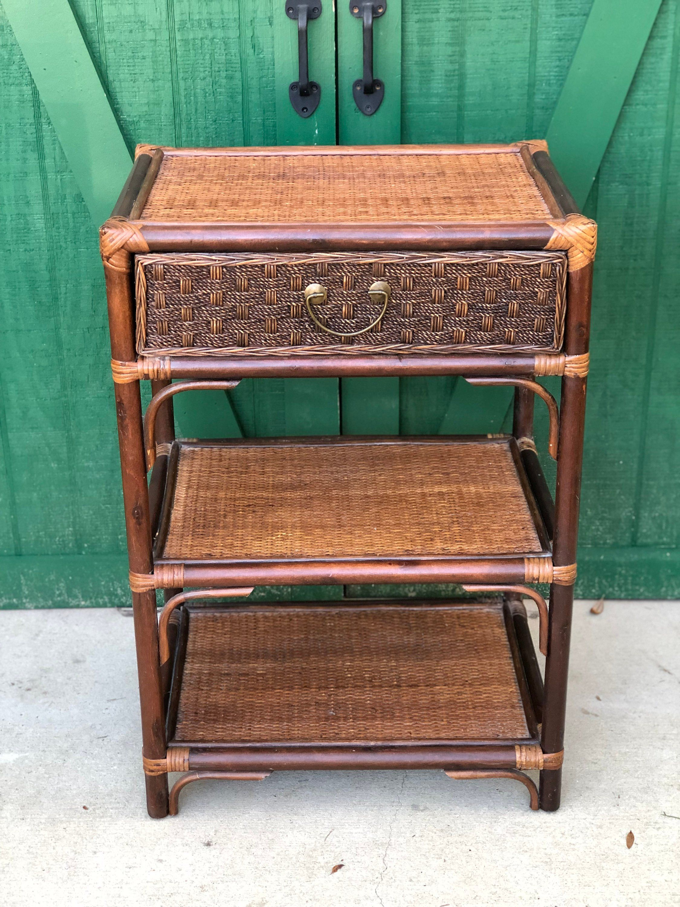 Vintage Natural Wicker Night Stand Br Drawer Pull Bamboo Frame One Two Shelves