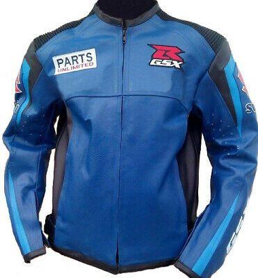 Men's Two Tone Blue Black Suzuki RGSX Parts Unlimited Motorbike Racing Leather Jacket