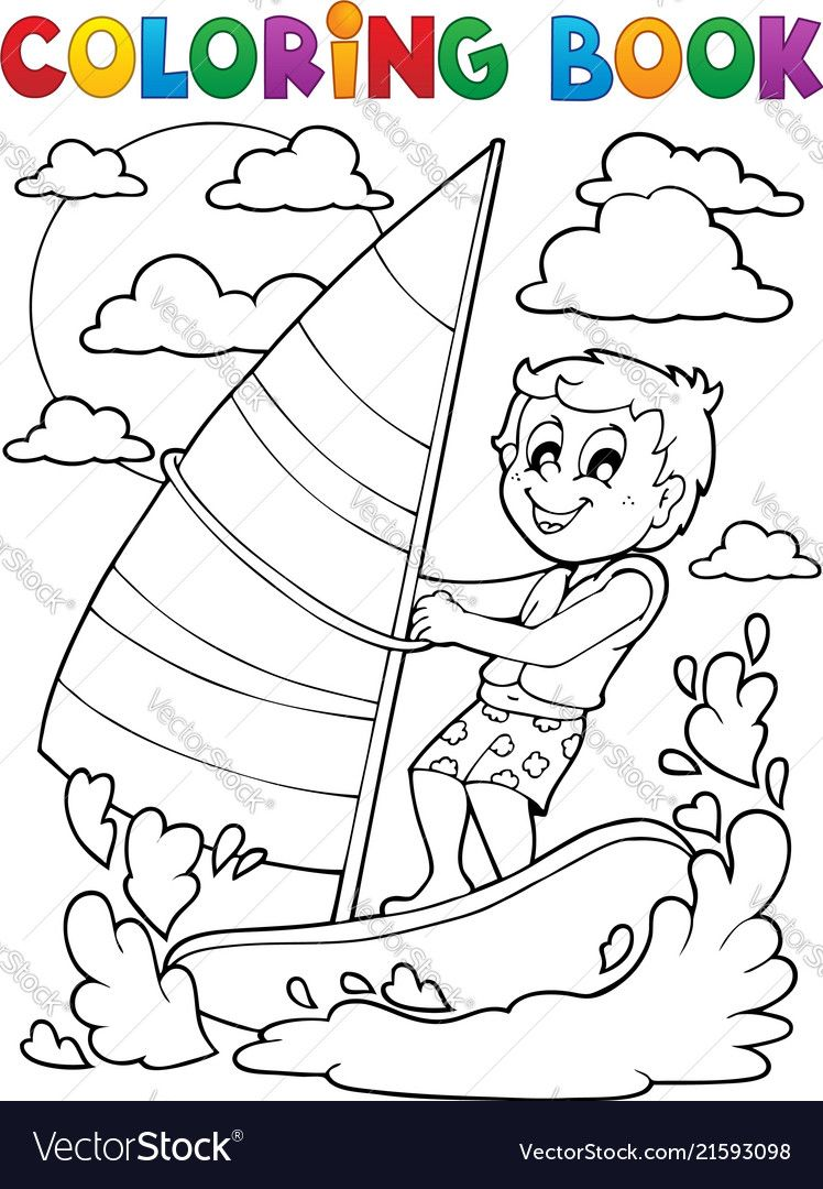 Coloring Book Water Sport Theme 1 Royalty Free Vector Image Coloring Books Coloring Pages Sports Drawings