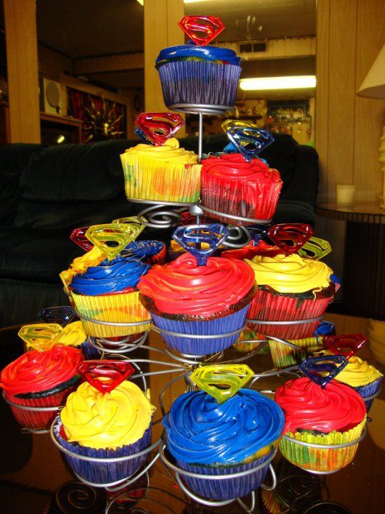 Superman Cupcakes Cupcakes Cakes Pinterest Superman cupcakes