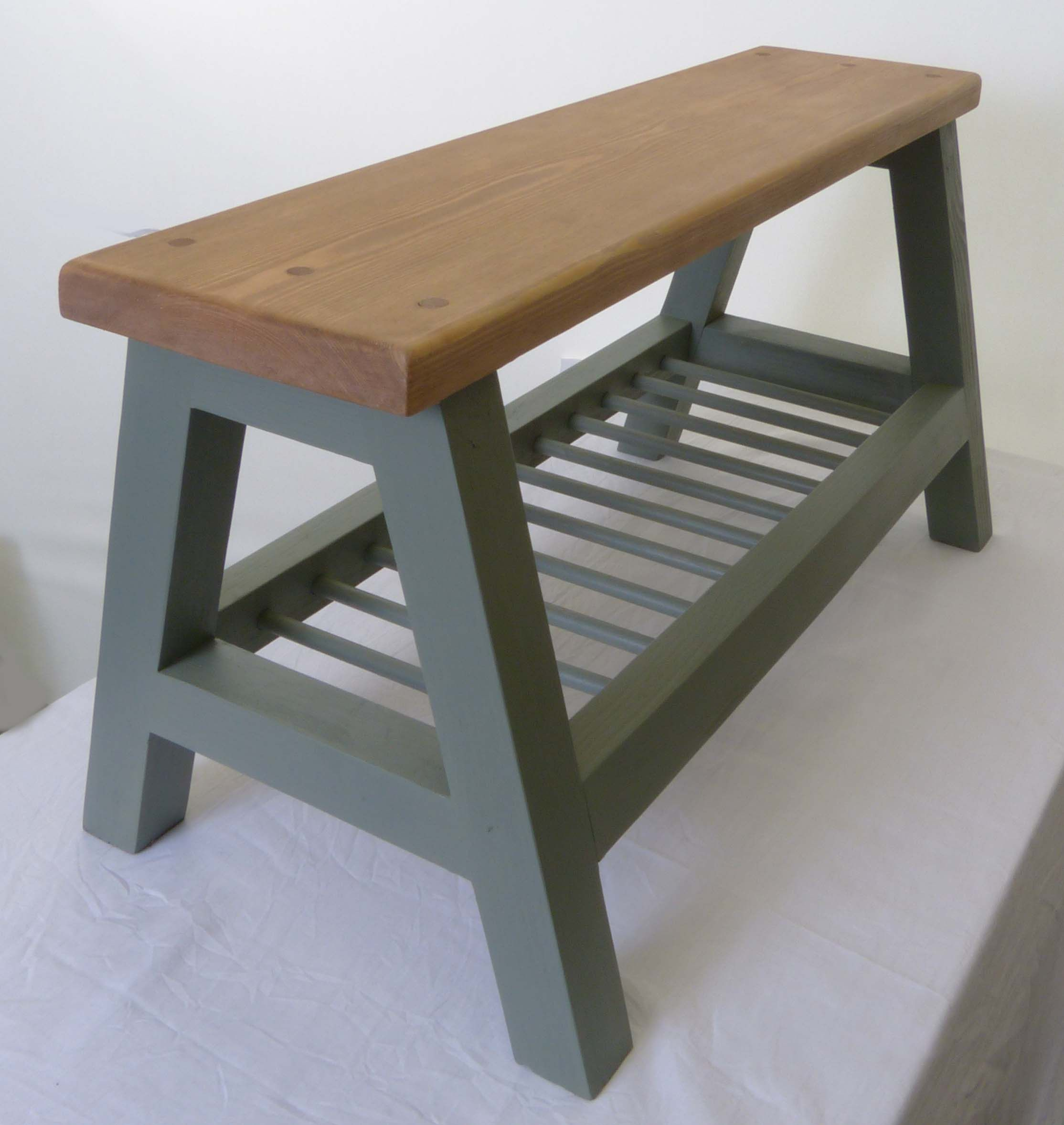 Low Height Small Bench with Shelf / Storage * Handmade