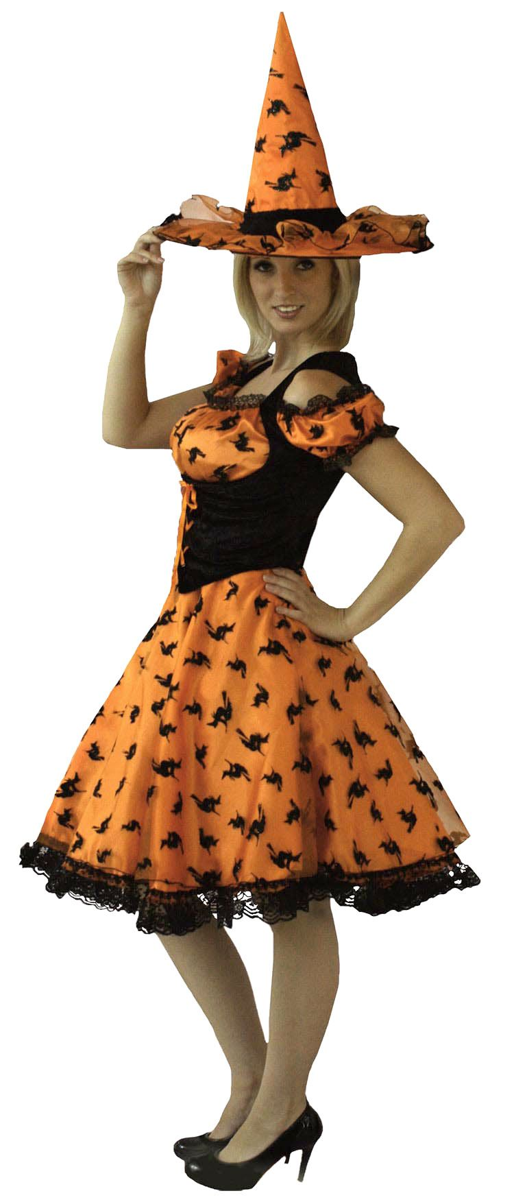 Orange Flying Witch Costume - Adult Witch Costumes | HALLOWEEN ...