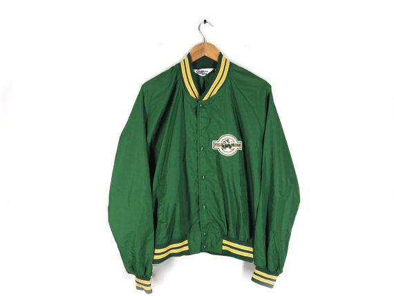 Vintage 90s Notre Dame Snap Jacket - by Chalk Line - Fan, Alum Gift - Coach's Jacket - Fightin' Irish Patch - Kelly Green Yellow - L XL Gift