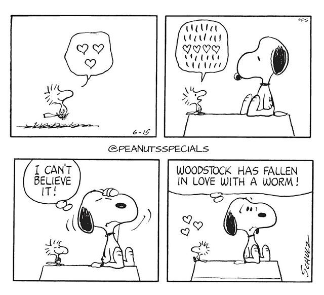 """Peanuts Specials on Instagram: """"First Appearance: June 15, 1971 #peanutsspecials #ps #pnts #schulz #snoopy #woodstock #icantbelieveit #falleninlove #worm"""""""
