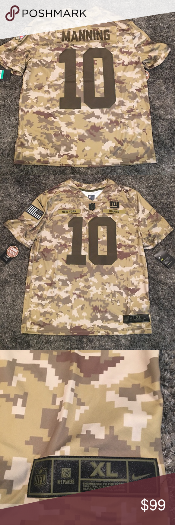 Nike Salute To Service NY Giants 10 Eli Manning XL Brand new Nike Salute To Service NY Giants two time Super Bowl winning Quarterback Eli Manning #10! New with tags. Digital Camo men's size XL. Thank you for looking Nike Shirts Tees - Short Sleeve #salutetoservice