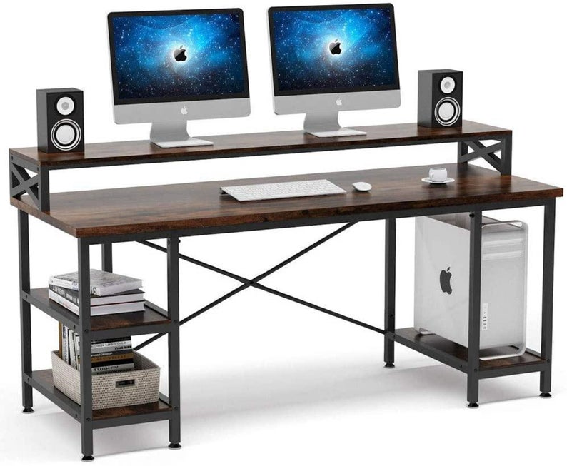63 Inch Computer Desk With Storage Shelves Extra Large Industrial Office Desk Computer Table In 2021 Desk Storage Desk Computer Desk