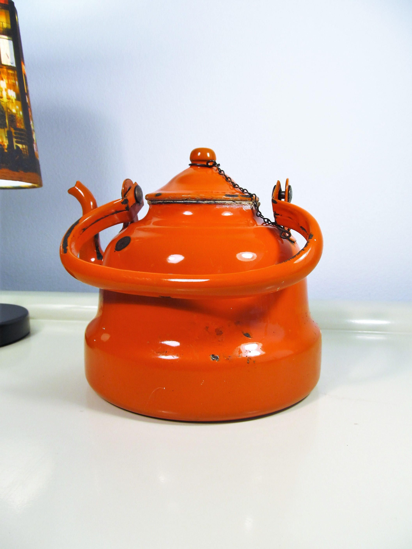 vintage enamel teapot orange color enamelware teapot coffee kettle
