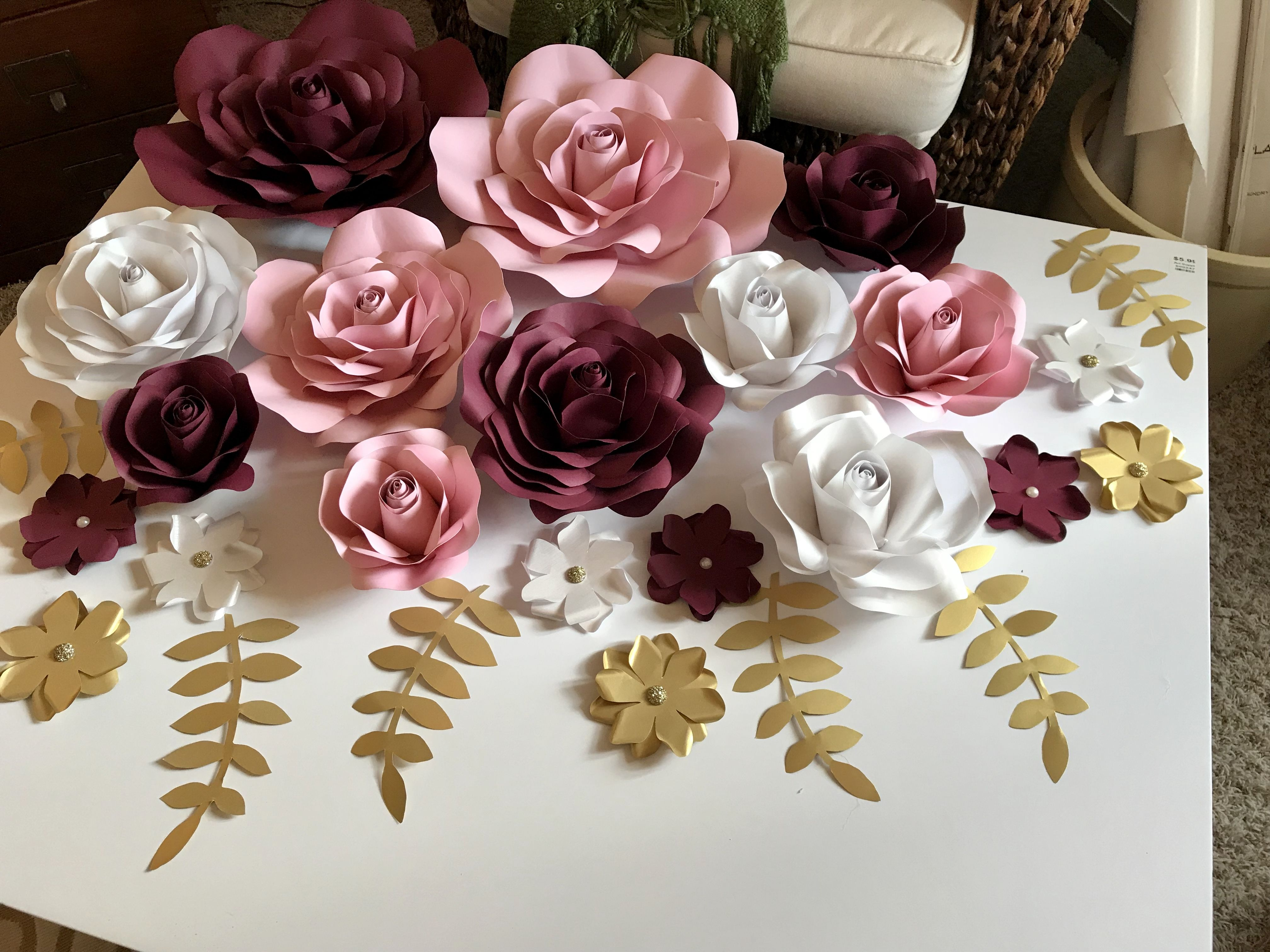 Burgundy Pink Pearl Gold Paper Flower Backdrop Nosso Casamento