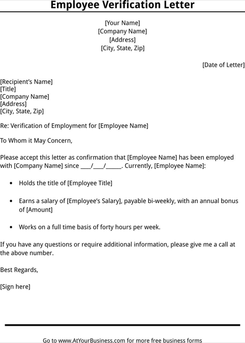 Employment verification letter template templatesforms employment verification letter template spiritdancerdesigns Images