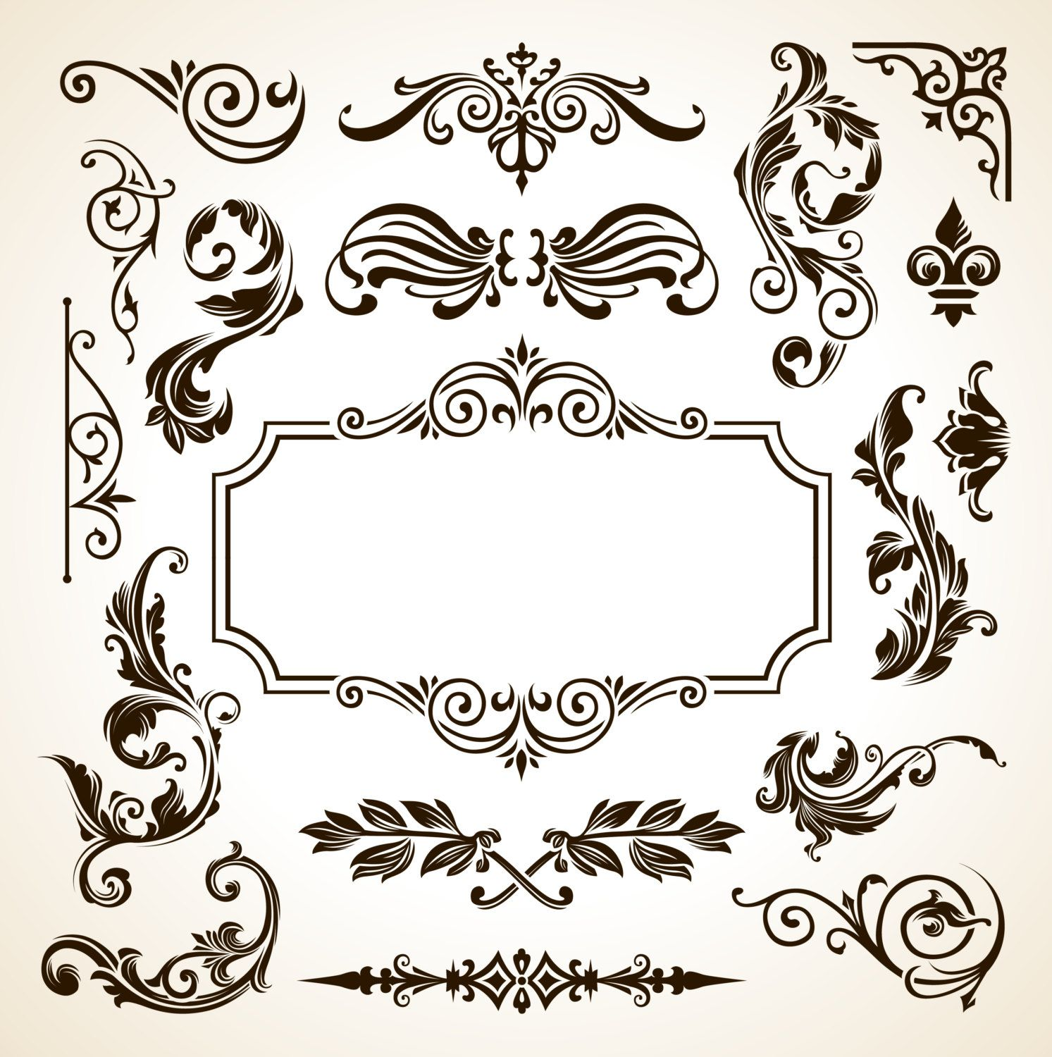 Frame Border Pattern Flowers Vector Vintage Ornamental Design Corner ...
