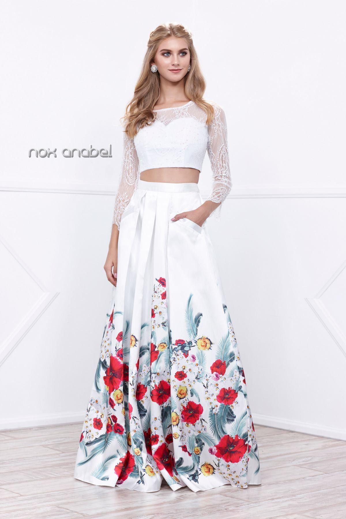 304c809f59ce0 White Long Two-Piece Dress with Floral Print Skirt by Nox Anabel 8353