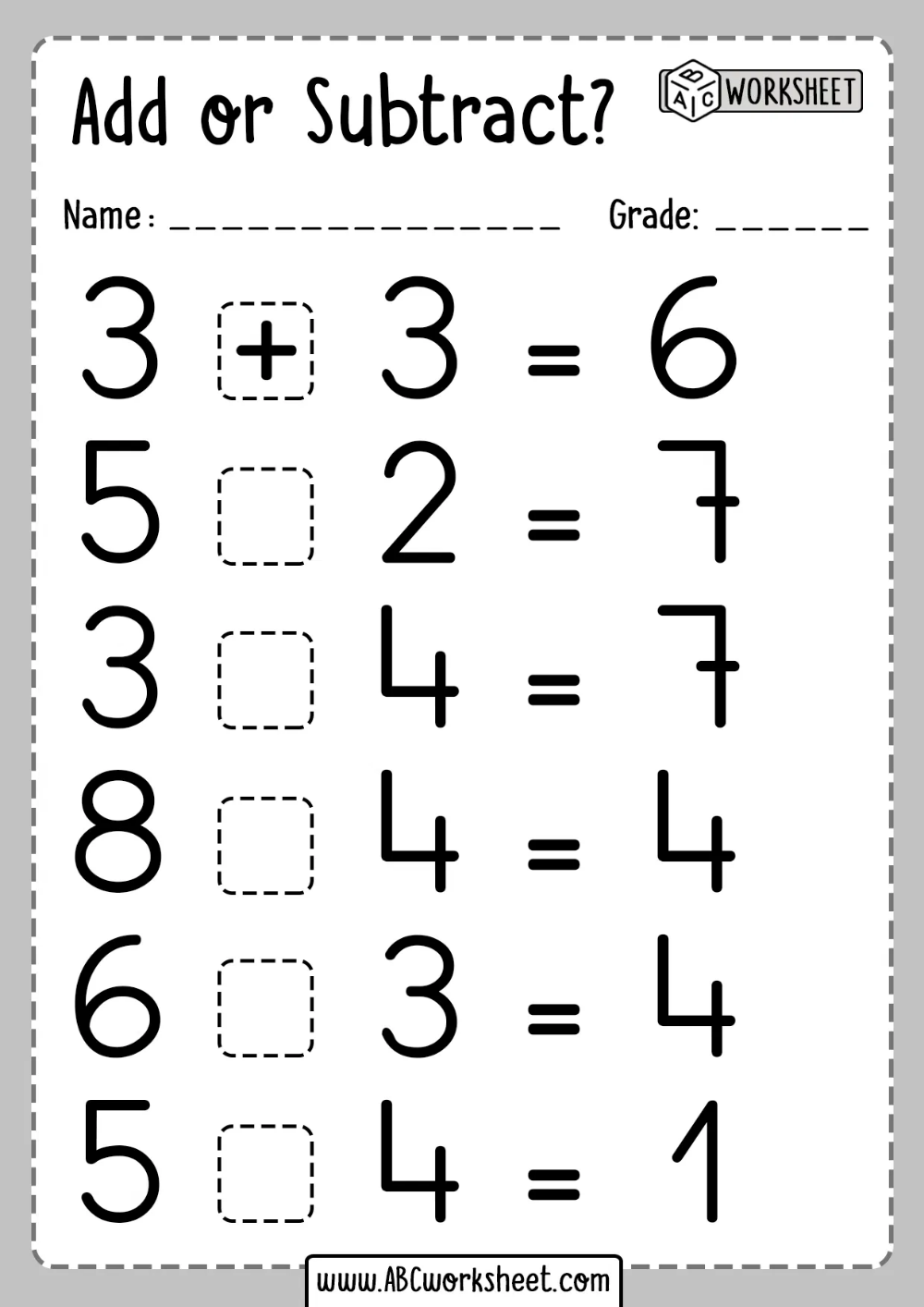 Single Digit Addition and Subtraction Worksheet   Addition and subtraction  worksheets [ 1414 x 1000 Pixel ]