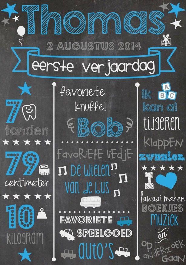 Beroemd krijtbord eerste verjaardag jongen | My girls | Pinterest #NK89