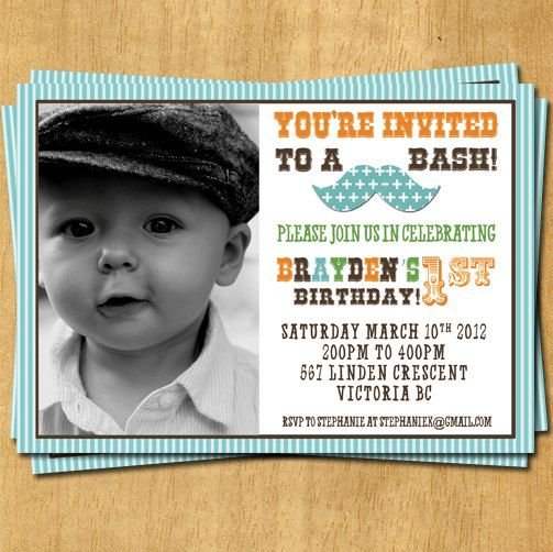 Boy Birthday Invitation  It's a Mustache Bash by olivepresspaper, $12.75