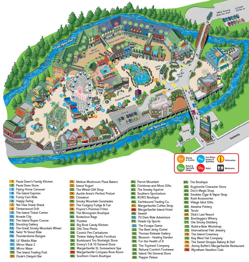 The Island In Pigeon Forge Map Tn Tennessee