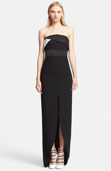 Prabal Gurung Strapless Crepe Gown available at Nordstrom| Not the best model, but the dress itself is quite lovely.