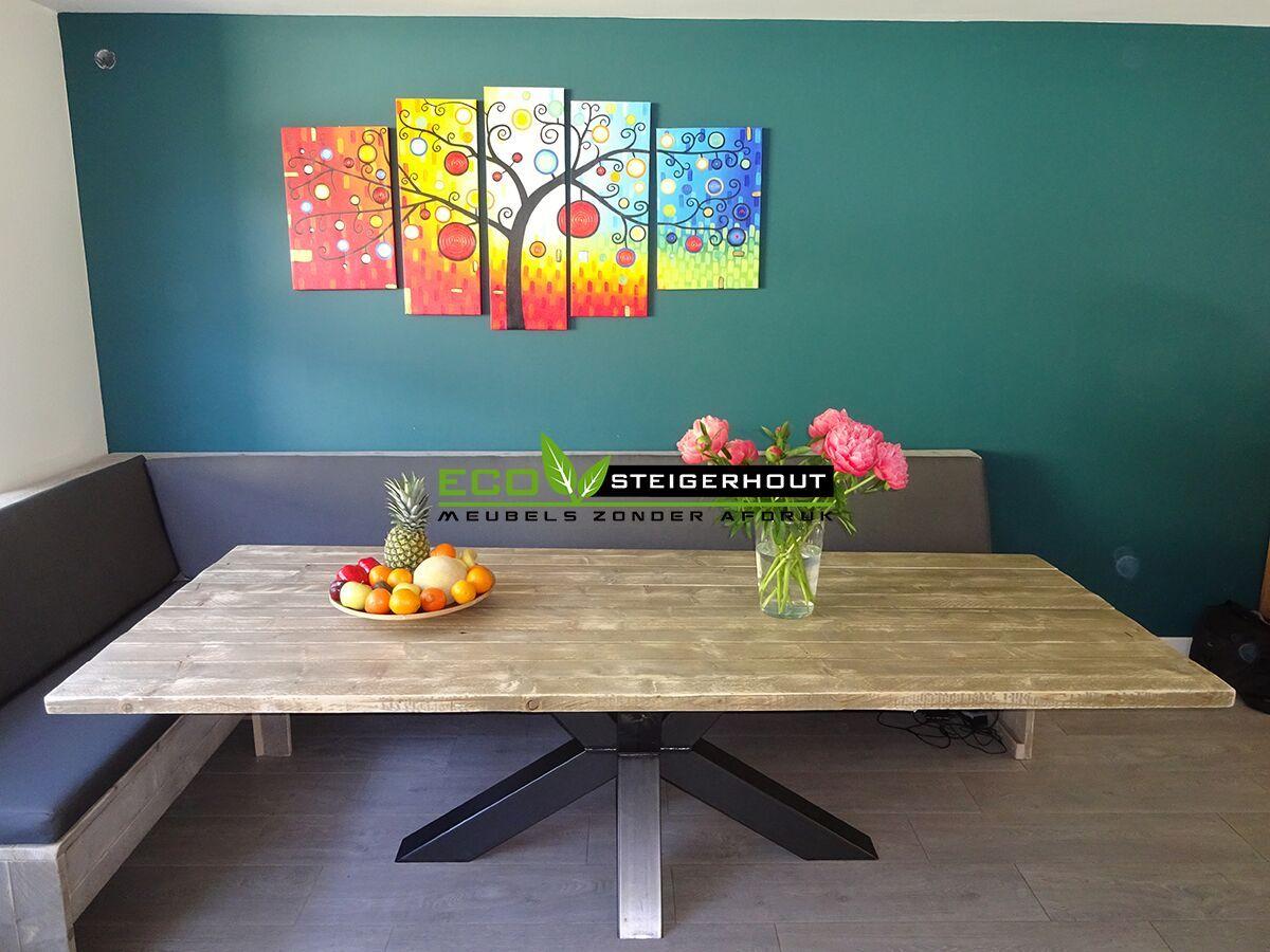 Mooie Steigerhouten Eettafel.Steigerhouten Eettafel Dubbel X Zwarte Mooie Robuuste Gekruiste