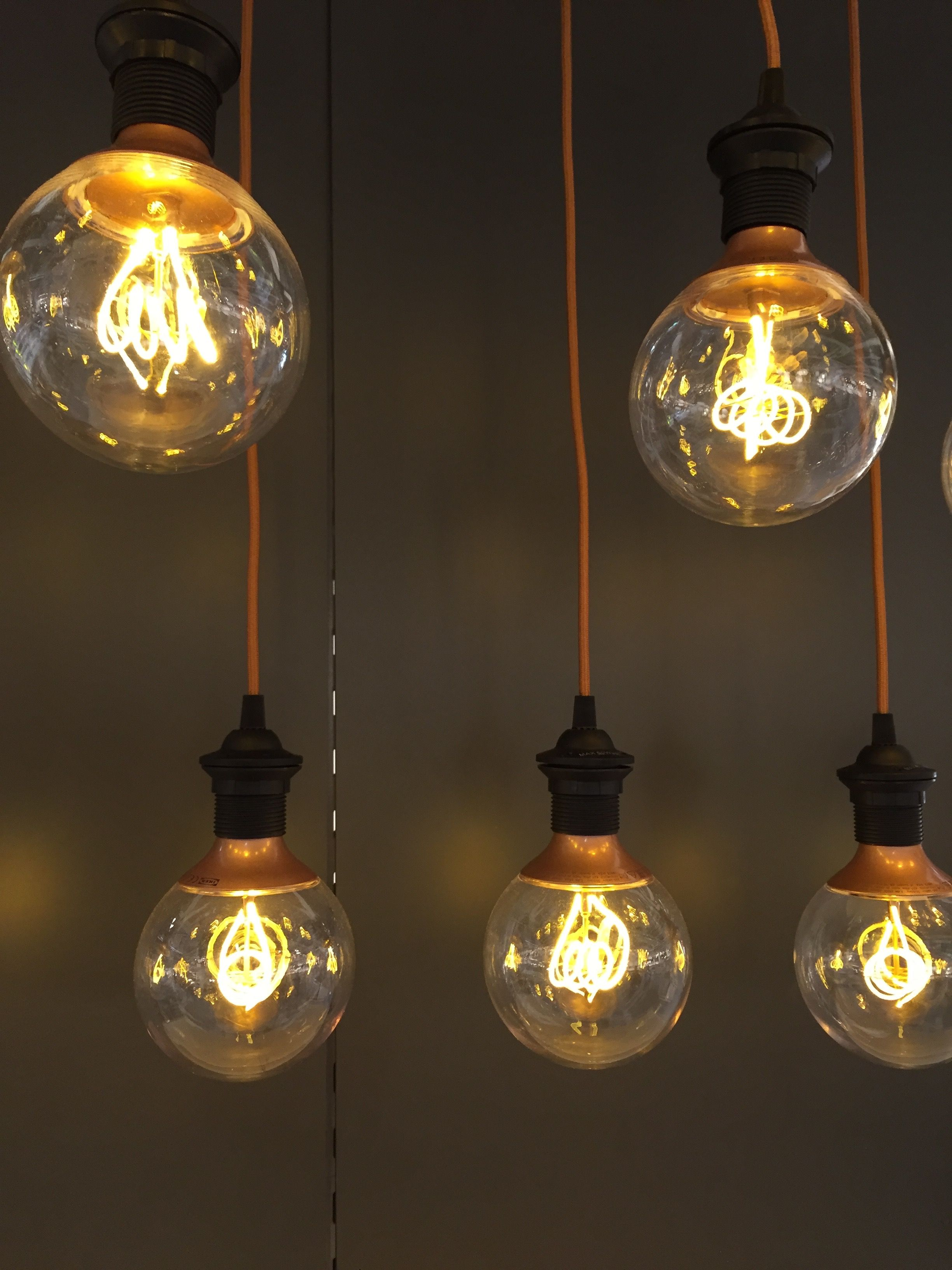 Love these IKEA LED retro copper colour globe bulbs! NITTIO E27 bulbs use  clever optic