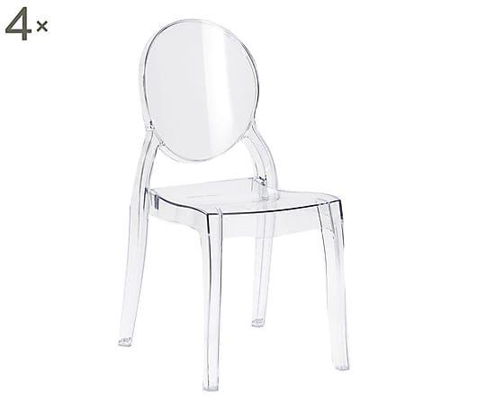 Set di 4 sedie in policarbonato Elizabeth trasparente, 47x90x50 cm ...
