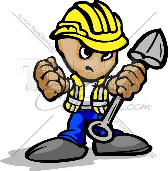 Cartoon Construction Workers Working Cartoon Construction Worker Clip Art Team Mascots Sports Graphics Hat Vector