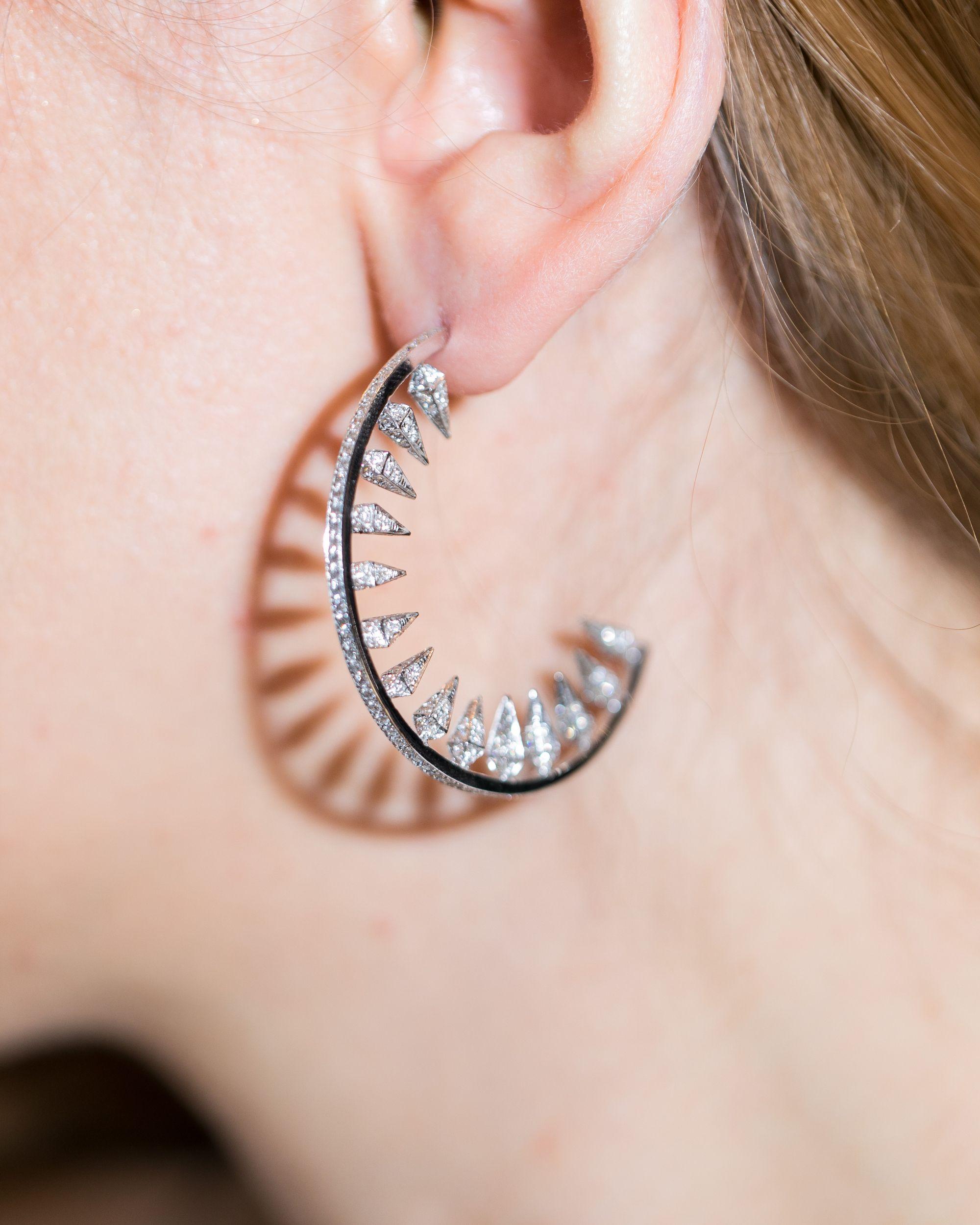 Unique Diamond Hoop Earrings Aesthetic On Ear By Karma El Khalil Jewelry See More Beautiful Diamond Indian Jewellery Design Earrings Classic Earrings Earrings