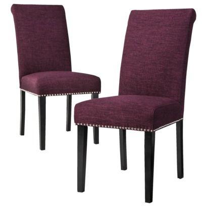 Avington Nailhead Dining Chair Eggplant Set Of 2 Love