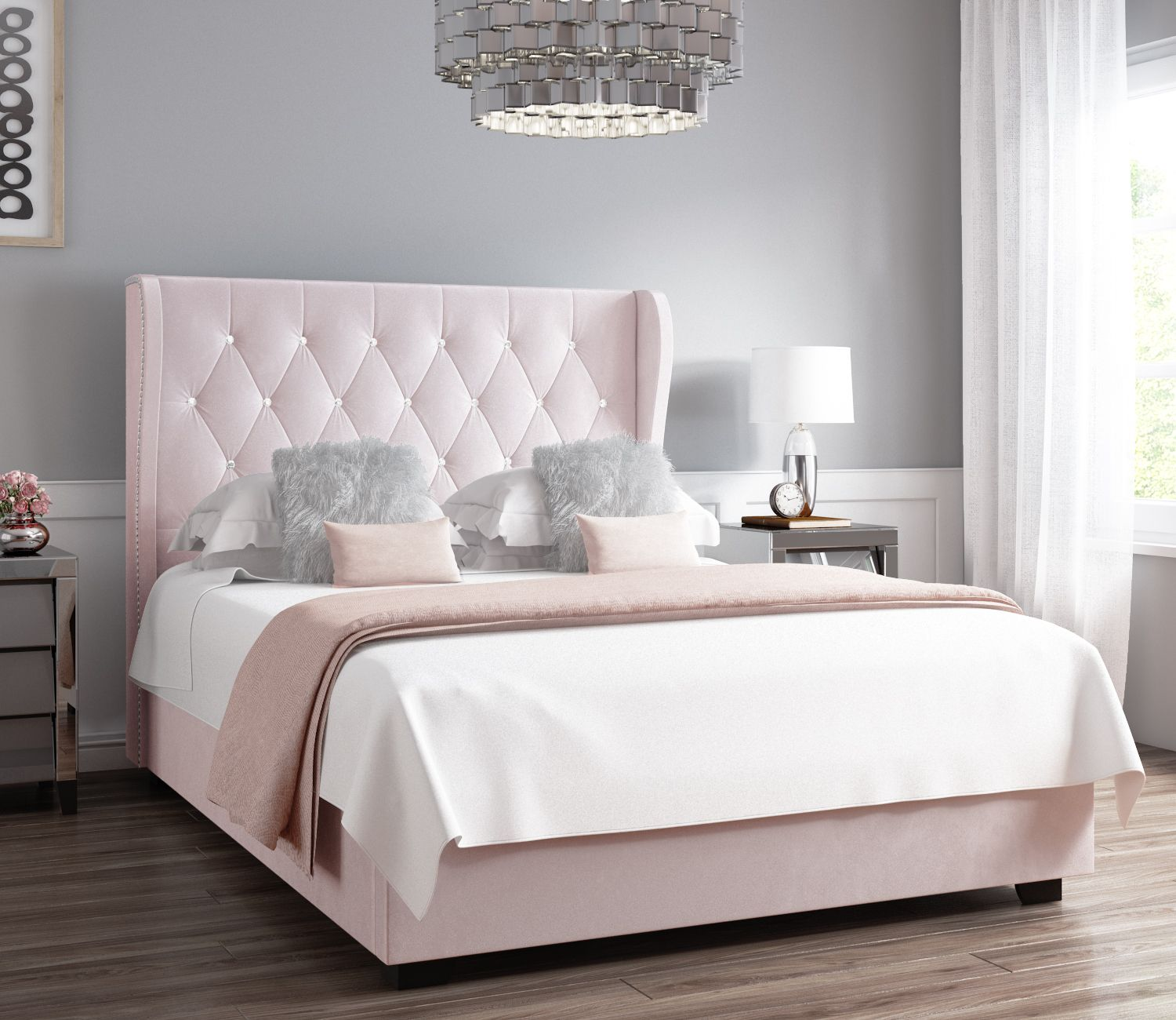 Safina Diamante Wing Back Double Ottoman Bed In Light Pink Velvet