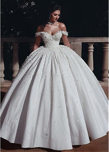 Photo of [298.79] Marvelous Tulle & Satin Off-the-shoulder Neckline Ball Gown Wedding Dresses With Beadings & Handmade Flowers & 3D Flowers – magbridal.com.cn