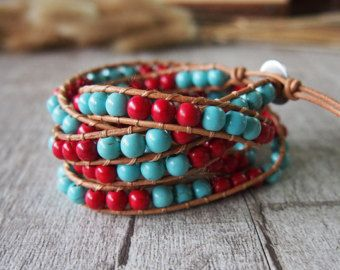 Beaded Wrap armband leer Wrap armband gerolde door MasaJewelry