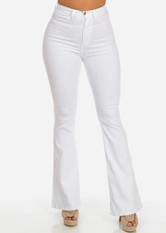 attractivedesigns elegant and sturdy package on feet at High Waisted Bell Bottom Jeans (White) | Denim Obsession ...