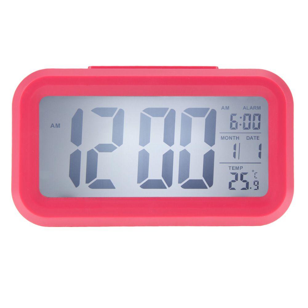 Indicador de temperatura tiempo fecha alarma led reloj for Reloj digital de mesa