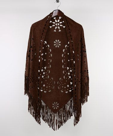 Loving this Brown Geometric Cutout Fringe Ruana on #zulily! #zulilyfinds