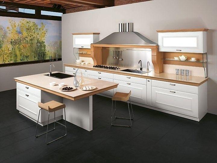 kchenzeile mit insel wei kombiniert mit hellem holz - Moderne Wohnkche Weiss Mit Holz