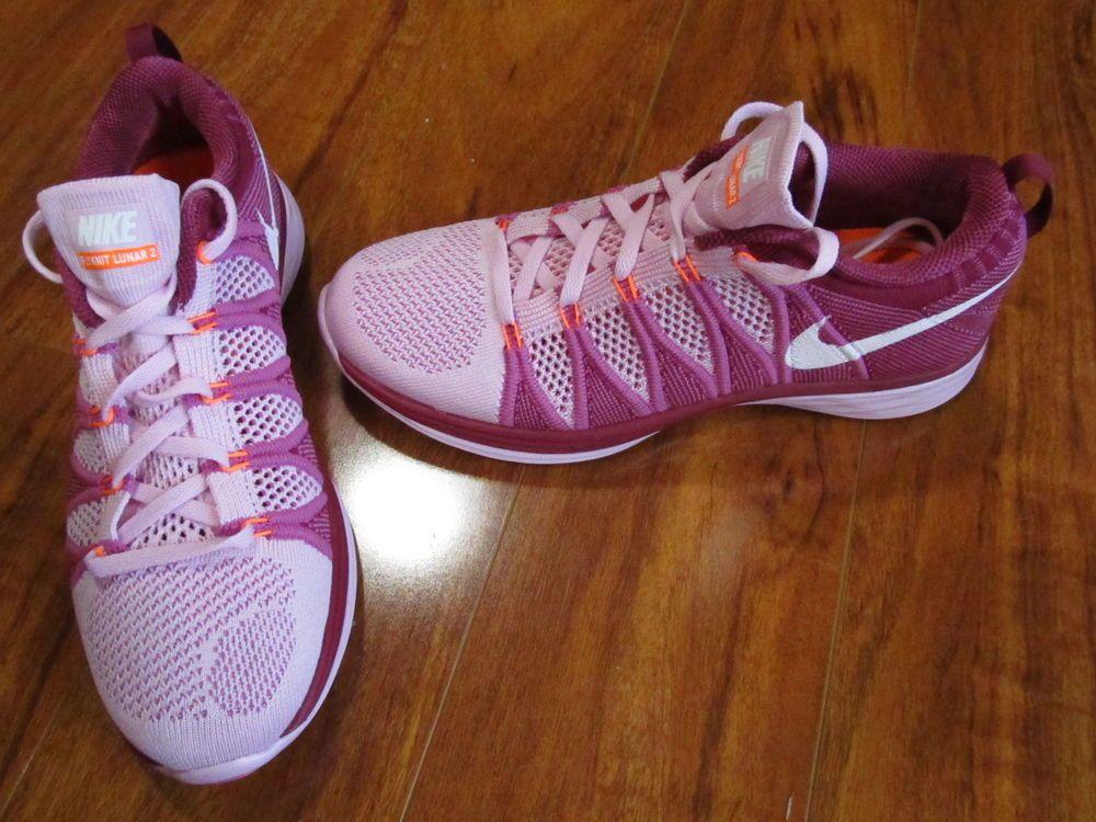 NEW NIKE FLYKNIT LUNAR 2 RUNNING SHOES WOMENS SIZE 7 PINK $150. #Nike #RunningCrossTraining