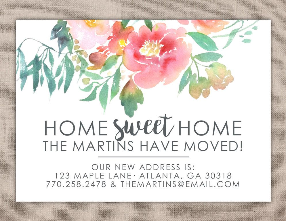 Home Sweet Home, Moving Announcement, Address Change, Printable - change of address templates