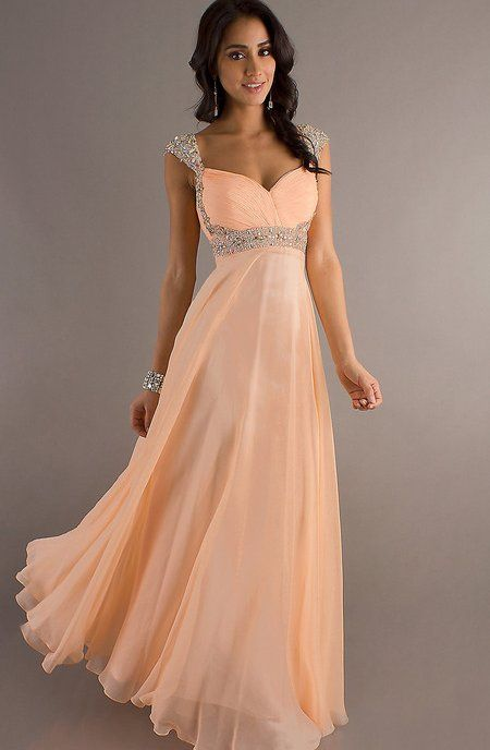 Long elegant peach prom dress 2014 with ruched bodice | Prom ...