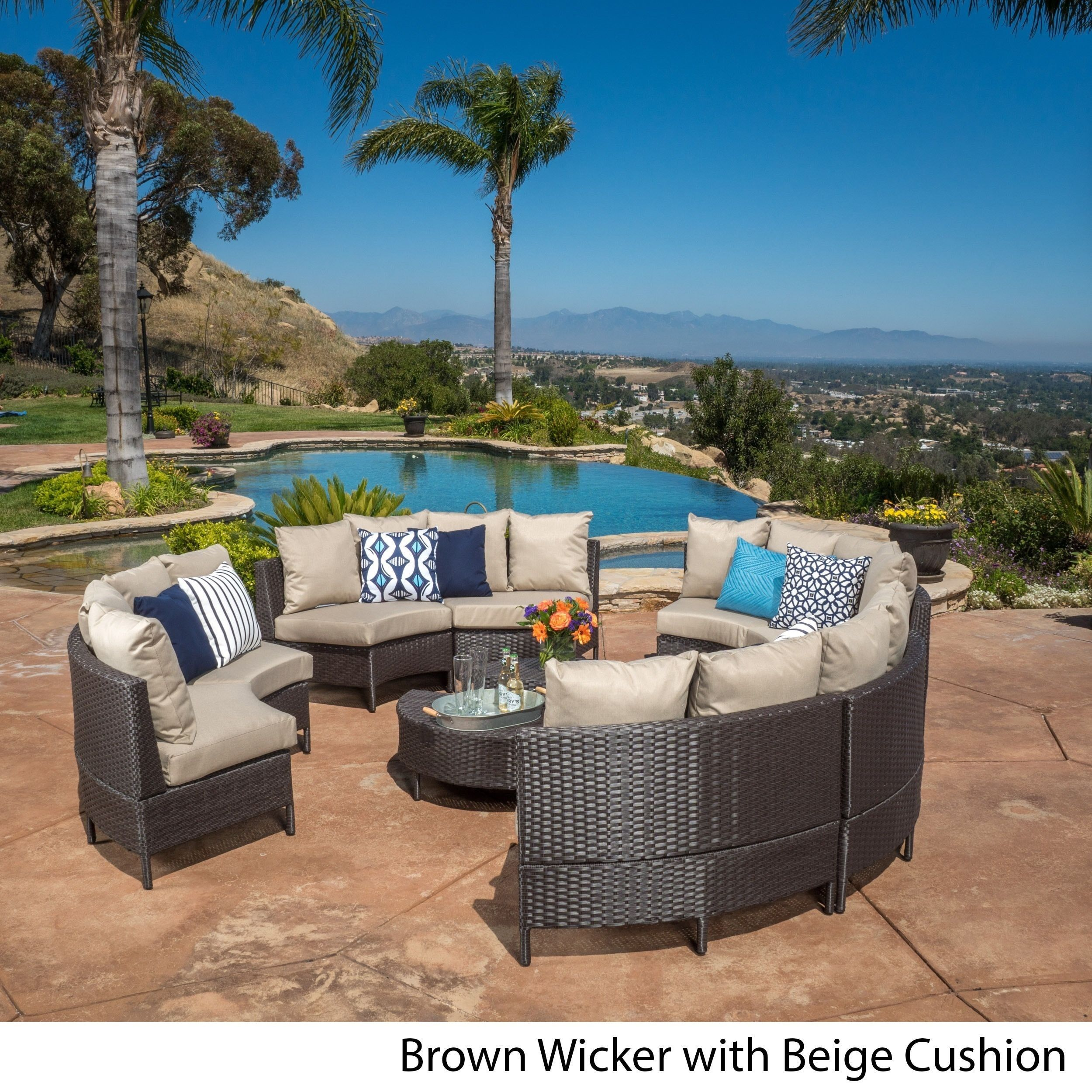 Newton Outdoor 10-piece Wicker Lounge Set by Christopher Knight Home ...