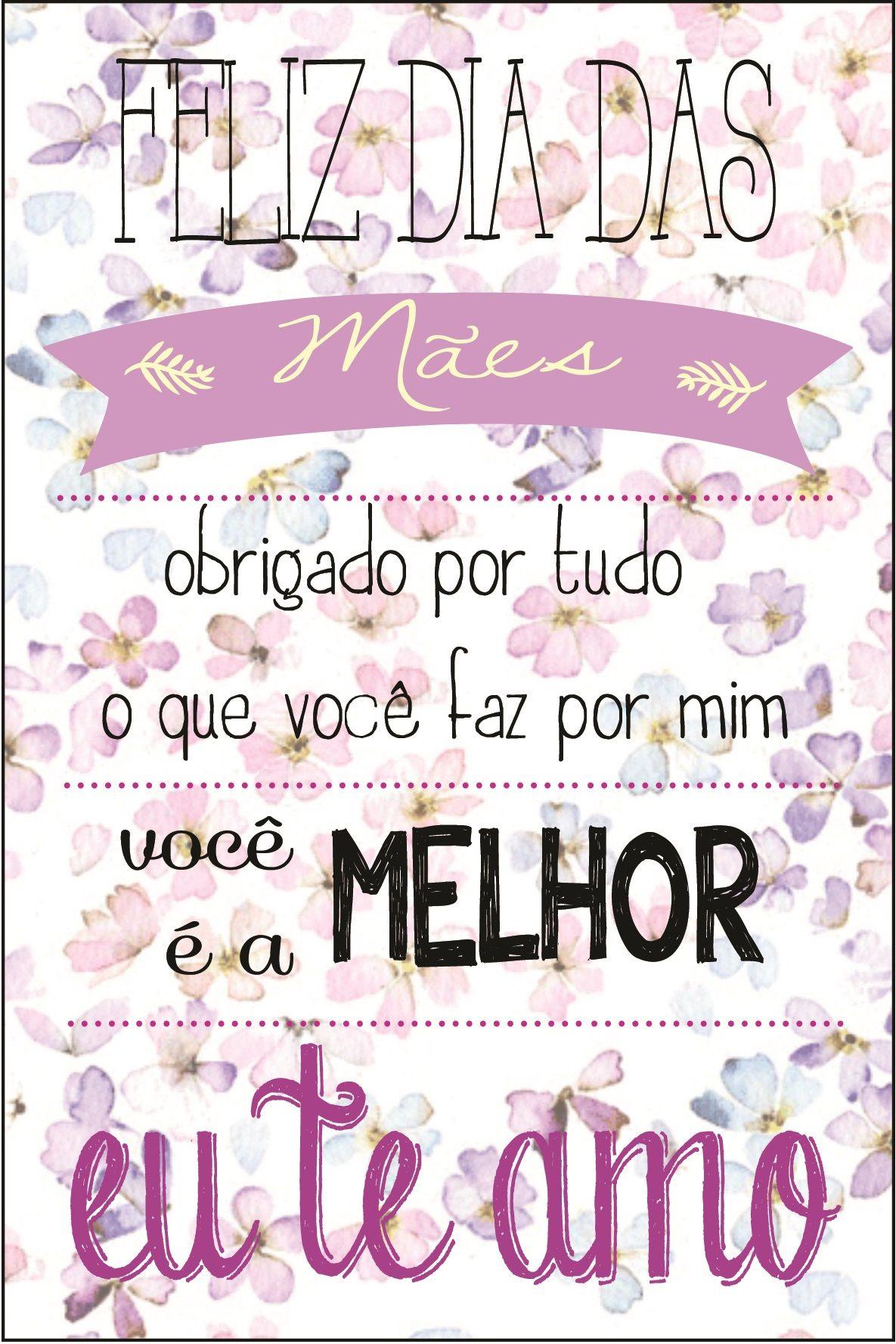 Cartão Dia Das Mães Mensagens Pinterest Frases