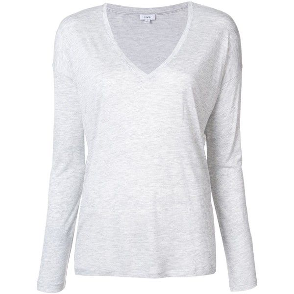 Vince v-neck longsleeved T-shirt ($140) ❤ liked on Polyvore featuring tops, t-shirts, grey, v-neck tops, vince tee, gray tees, grey v neck t shirt and gray v neck t shirt