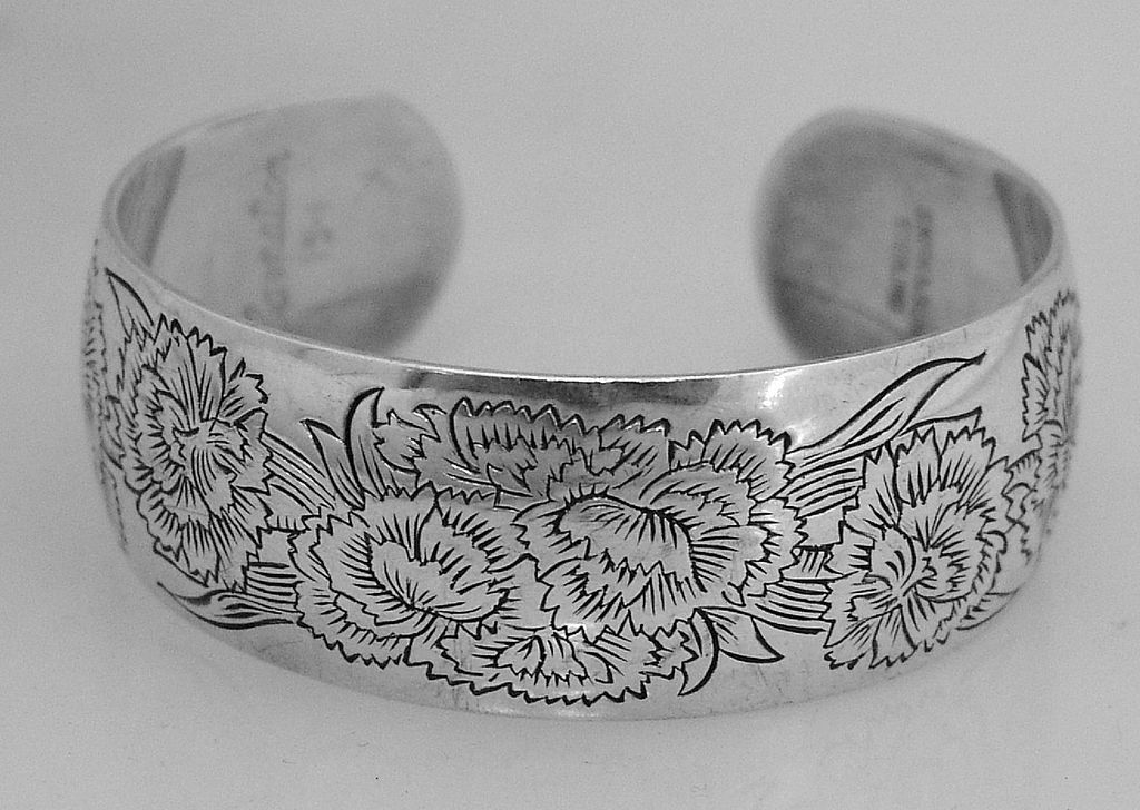 Bangle Bracelet Carnation Kirk Sterling Silver 1940 from berrycom ...