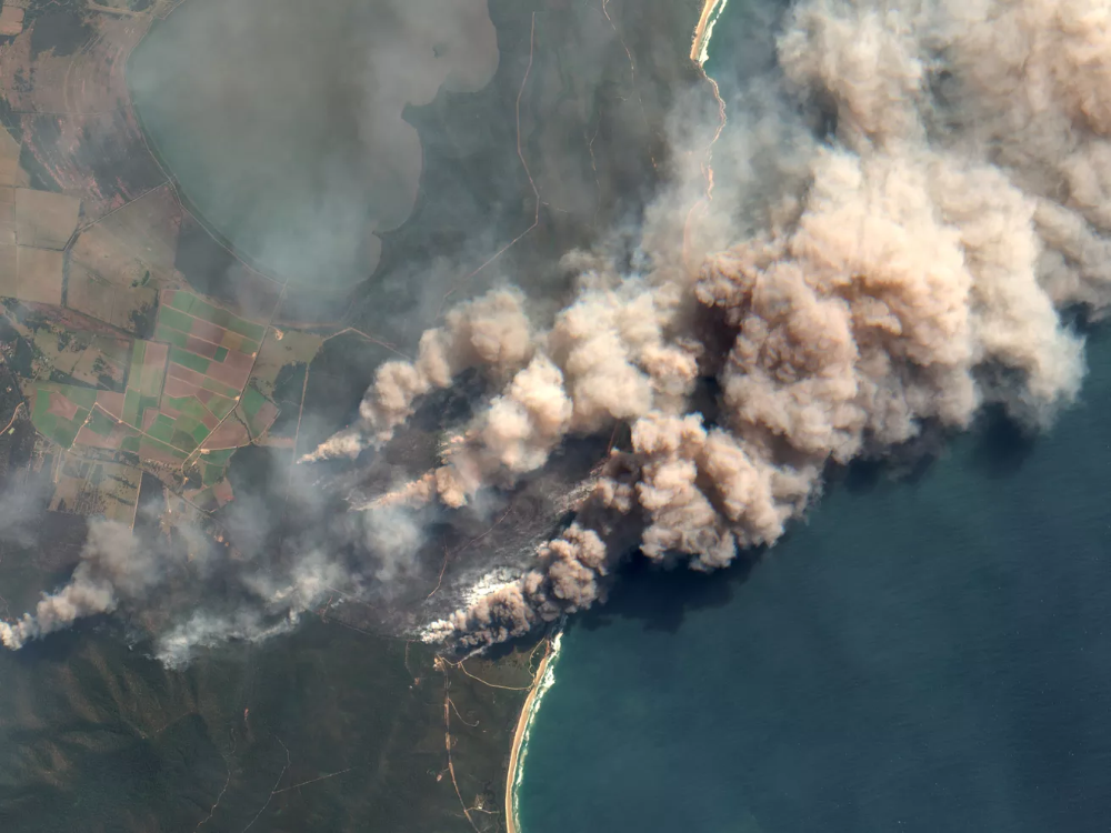 Australia's massive fires, as seen from space Australia